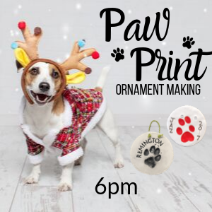 Paw Print Ornament Making @ All uPaint Locations
