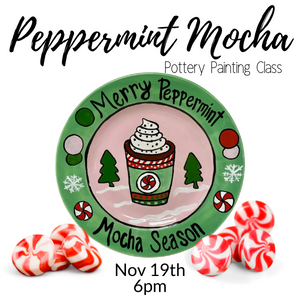 Peppermint Mocha Pottery Painting Class @ All uPaint Locations